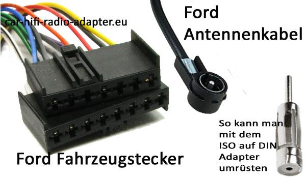 Ford Focus I Radiostecker und Antennenanschluss  Radiowechsel Ford Focus Einbauanleitung Ford Focus I Radiostecker und Antennenanschluss