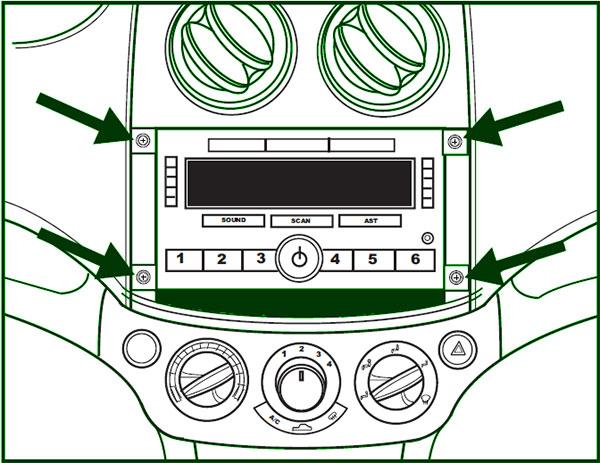 Chevrolet-Aveo-Radioausbau-Skize