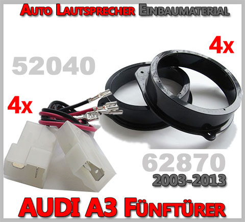 AUDI A3 8P Lautsprecher Einbaumaterial Fünftürer