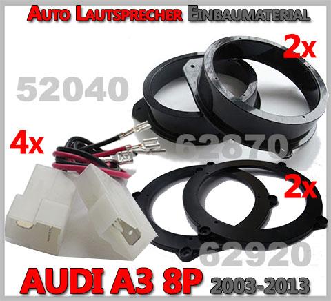 AUDI A3 8P Lautsprecher Einbaumaterial dreitürer