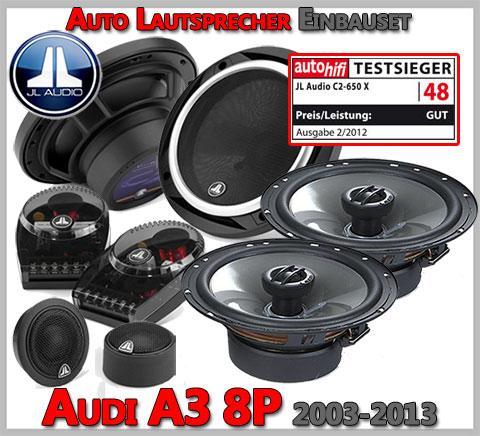 Audi A3 8P Lautsprecher Testsieger Set Oberklasse Fünftürer