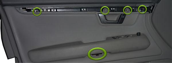 Audi A4 B7 Türverkleidung Verschraubungen zum Türblech