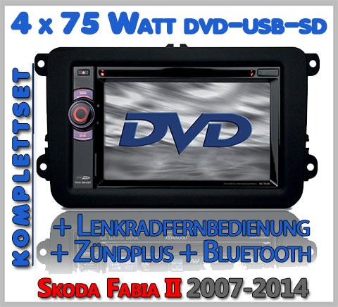 Skoda Fabia II Autoradio Set DVD Bluetooth Lenkradfernbedienung