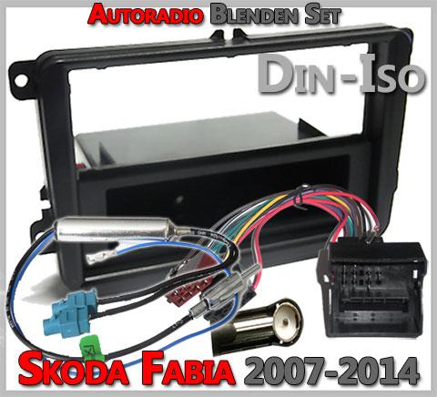 Skoda Fabia II Radioeinbauset 2007-2014 Schwarz 1 DIN