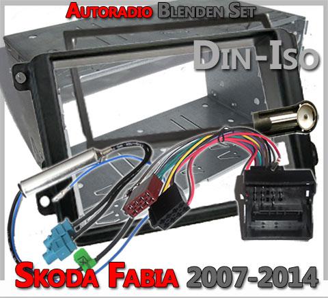 Skoda Fabia II Radioeinbauset 2007-2014 Schwarz Doppel DIN