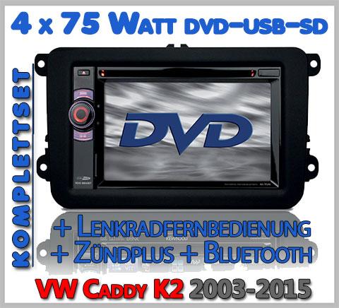 VW Caddy K2 Autoradio Set DVD Bluetooth Lenkradfernbedienung