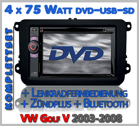 VW Golf V Autoradio Set DVD Bluetooth Lenkradfernbedienung