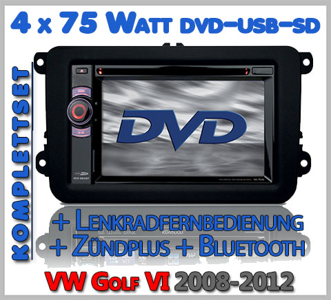 VW Golf VI Autoradio Set DVD Bluetooth Lenkradfernbedienung
