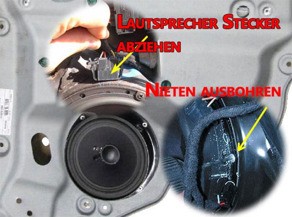VW Touran Lautsprecher ausbauen in den hinteren Türen