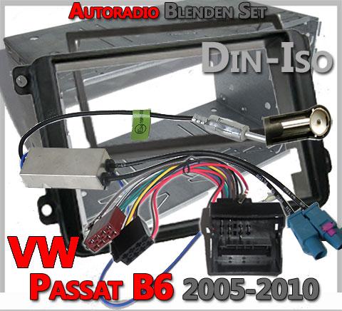VW-Passat-B6-Autoradio-Blenden-Set-2-DIN-mit-Antennen-Diversity