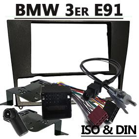 Radioblende-2DIN-mit-Antennenadapter-und-Kabel-für-BMW-Touring-E91 bmw 3er touring e91 radio tausch 1 din oder doppel din BMW 3er Touring E91 Radio Tausch 1 DIN oder Doppel DIN Radioblende 2DIN mit Antennenadapter und Kabel f  r BMW Touring E91