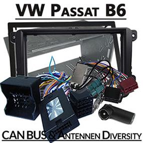 VW-Passat-B6-Fremdradio-Einbauset-2-DIN-Lenkradfernbedienung-Antennen-Diversity
