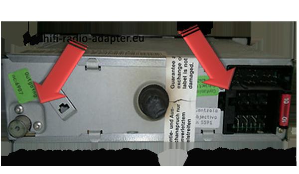 ISO Antennenstecker an der Rückseite des Radios