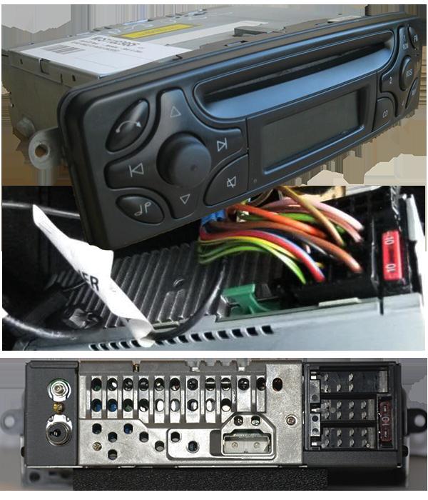 mercedes-C-220-radio-vorne-hinten