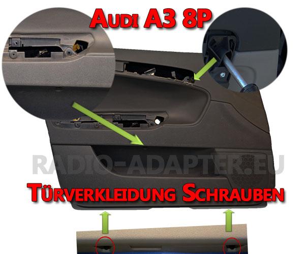 Audi A3 8P Türverkleidung Befestigungspunkte Schrauben