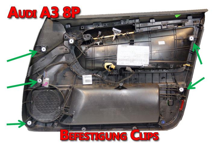 Audi A3 8P Türverkleidung Rückseite Positionen der Befestigung Clips
