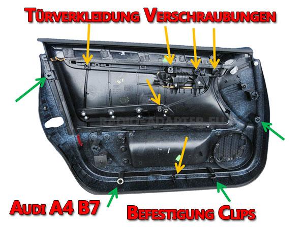 Audi A4 B7 Türverkleidung Befestigung Clips und Verschaubungen
