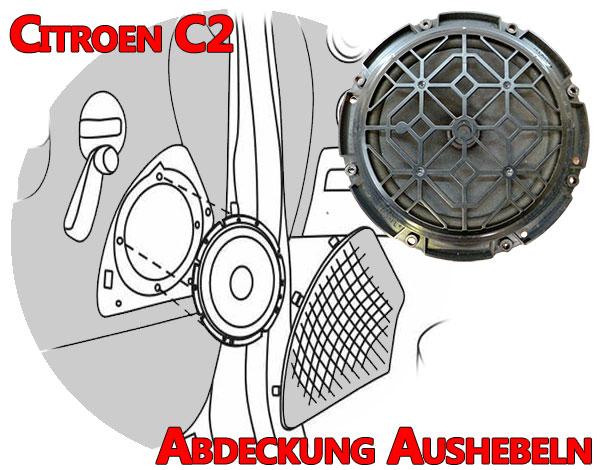 Citroen C2 Türverkleidung Lautsprecher Abdeckung aushebeln