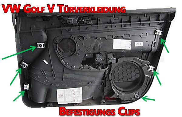 VW Golf V Türverkleidung Befestigung Clips