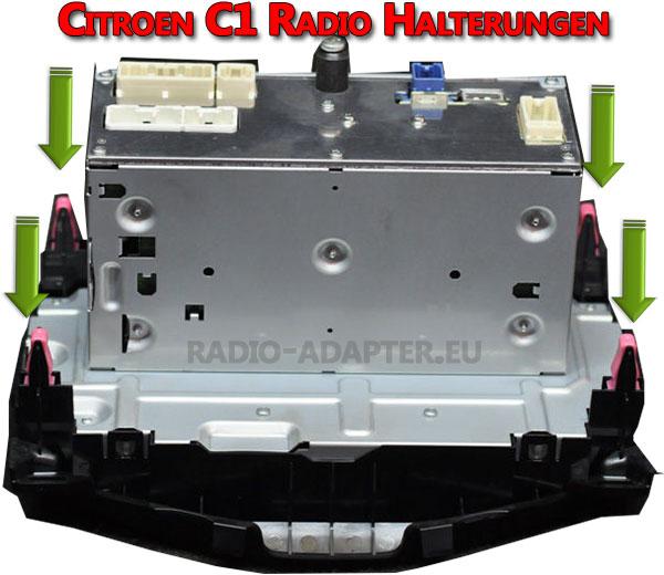 Citroen C1 Radio 2015 Clips Halterungen hinten in der Mittelkonslole