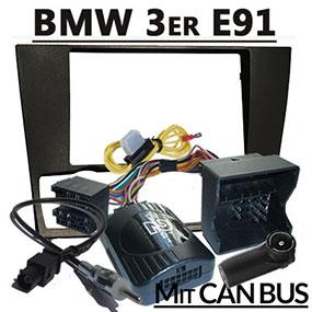 2DIN-Radioblende-mit-Lenkradfernbedienung-und-Kabel-für-BMW-Touring-E91
