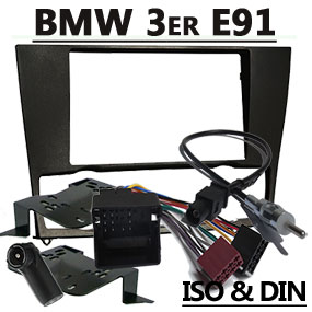 Radioblende-2DIN-mit-Antennenadapter-und-Kabel-für-BMW-Touring-E91