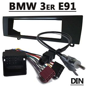 Radioblende-mit-Antennenadapter-und-Kabel-für-BMW-Touring-E91