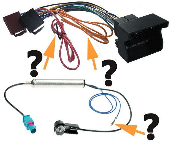 VW-Passat-B6-Autoradio-Anschlusskabel-mit-losen-Kabel-und-nicht-angeschlossen