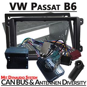 VW-Passat-B6-mit-Dynaudio-Einbauset-2-DIN-Adapter-für-Lenkradfernbedienung